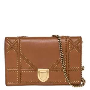 حقيبة كتف ديور ديوراما مرصعة صغيرة سلسلة جلد بني فاتح