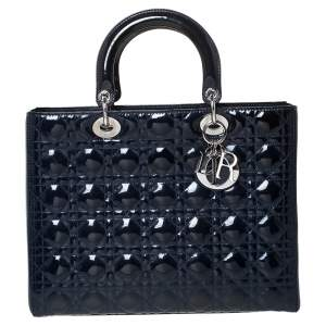 Dior Midnight Blue Cannage Patent Leather Large Lady Dior Tote