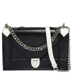 Dior Black/White Leather and Python Large Diorama Flap Shoulder bag