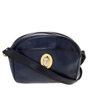 Dior Navy Blue Leather Vintage Camera Shoulder Bag