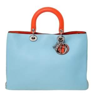 Dior Blue/Orange Leather and Python Large Diorissimo Shopper Tote