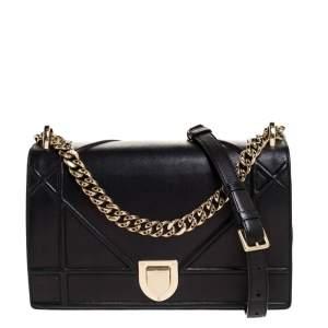 Dior Black Leather Medium Diorama Flap Shoulder Bag