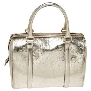 Dior Metallic Gold Oblique Monogram Leather Boston Bag