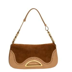 Dior Brown Suede and Leather Wingtip Malice Shoulder Bag