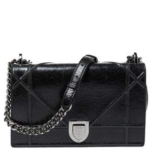 Dior Black Crackled Patent Leather Medium Diorama Shoulder Bag