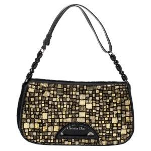 Dior Black/Gold Embellished Calfhair Maris Pearl Shoulder Bag