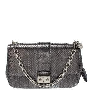Dior  Metallic Grey Python Miss Dior Medium Flap Bag
