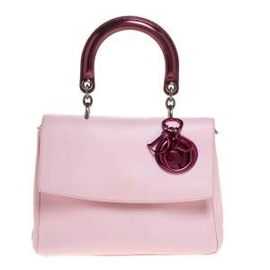 Dior Pink Leather and Patent Leather Small Be Dior Flap Bag