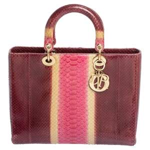Dior Burgundy Ombre Python Large Lady Dior Tote