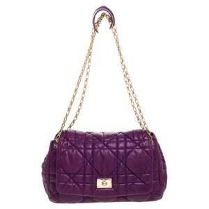 Dior Purple Cannage Leather Chain Flap Shoulder Bag