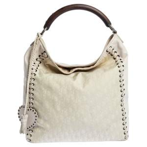 Dior White Oblique Canvas and Leather Ethnic Hobo