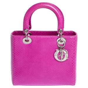 "حقيبة يد ديور ""ليدي ديور"" متوسطة جلد ثعبان وردي"