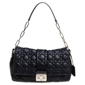 Dior Black Cannage Leather New Lock Flap Bag