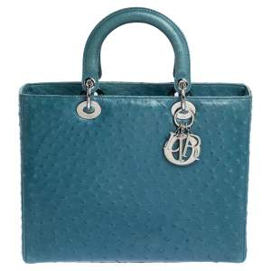 Dior Teal Blue Ostrich Large Lady Dior Tote