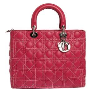 Dior Pink Cannage Stitched Leather Large Lady Dior Tote