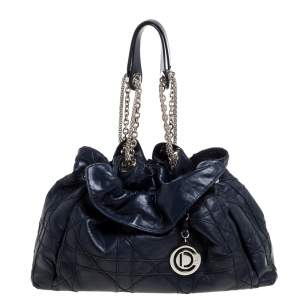 Dior Navy Blue Cannage Leather Le Trente Hobo
