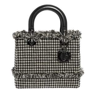 Dior Black/White Houndstooth Patterned Tweed Medium Lady Dior