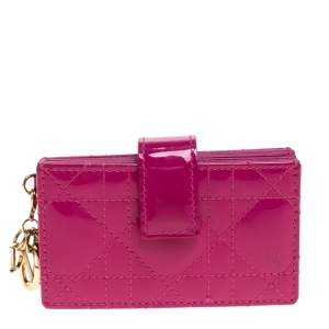 Dior Fuchsia Cannage Patent Leather Lady Dior Gusset Card Case