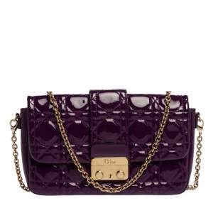 Dior Purple Cannage Patent Leather Miss Dior Promenade Chain Pouch