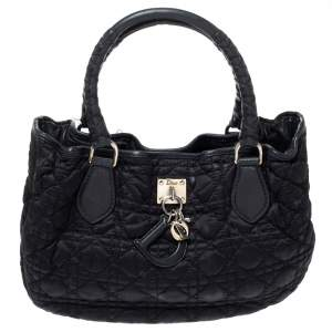 Dior Black Cannage Satin Charming Shoulder Bag