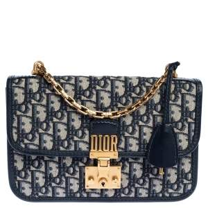 Dior Navy Blue/White Oblique Canvas Dioraddict Flap Chain Bag