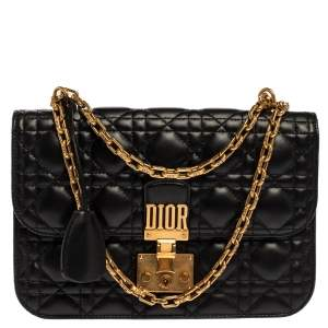Dior Black Leather Dioraddict Flap Shoulder Bag