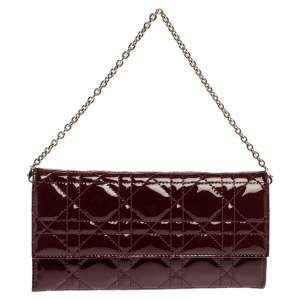 Dior Red Cannage Patent Leather Lady Dior Wallet on Chain
