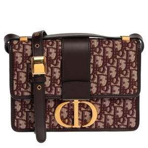 Dior Burgundy Oblique Canvas and Leather 30 Montaigne Shoulder Bag