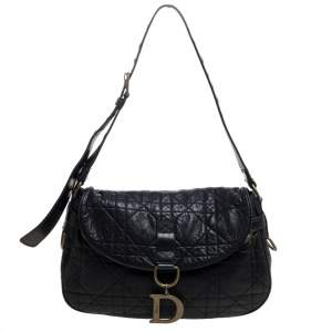 Dior Black Cannage Leather Flap Shoulder Bag