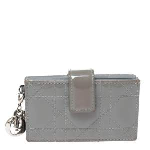 Dior Grey Cannage Patent Leather Lady Dior Gusset Card Case