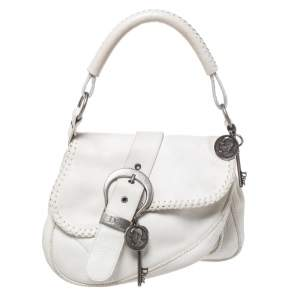 Dior White Leather Gaucho Double Saddle Bag