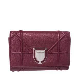 Dior Burgindy Leather Diorama Elancee Trifold Wallet