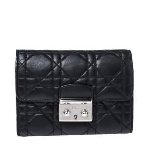 Dior Black Cannage Leather Lady Dior New Lock Wallet