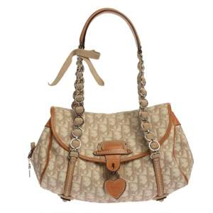Dior Beige/Brown Oblique Coated Canvas and Leather Romantique Trotter Bag