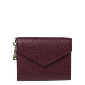Dior Burgundy Leather Diorissimo Envelope Wallet