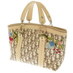 حقيبة يد ديور كانفاس زهور أوبليك بنية/ بيج