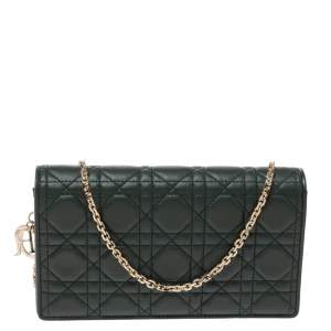 Dior Green Cannage Leather Lady Dior Chain Clutch