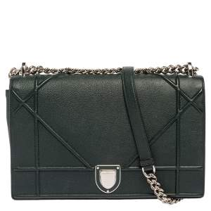 Dior Dark Green Leather Large Diorama Flap Shoulder bag