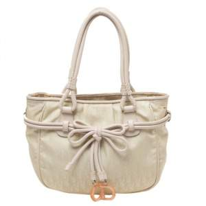 Dior Vanilla Oblique Nylon and Leather Bow Charm Shoulder Bag