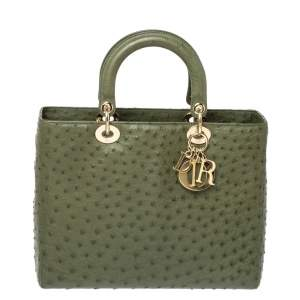 Dior Army Green Ostrich Large Lady Dior Tote