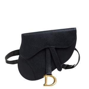 Dior Black Leather Saddle Belt Bag