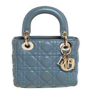 Dior Dusk Blue Cannage Leather Mini Lady Dior Tote
