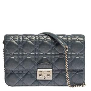 Dior Blue Shimmer Leather Miss Dior Promenade Chain Bag