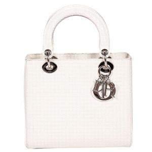Dior White Leather Medium Lady Dior Bag