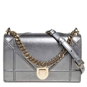Dior Metallic Grey Leather Medium Diorama Flap Shoulder Bag