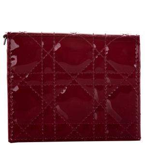 Dior Red Patent Leather Cannage Wallet