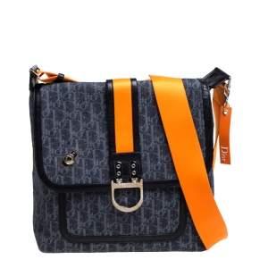 Dior Blue/Orange Oblique Canvas Flight Flap Messenger Bag