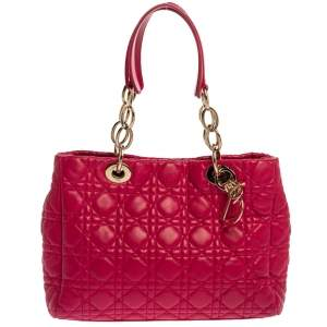 Dior Magenta Cannage Leather Small Soft Lady Dior Shopping Tote