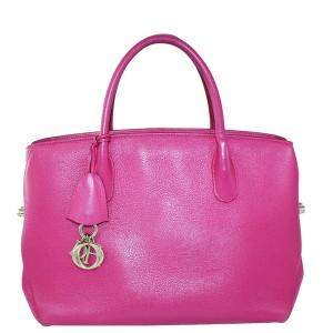 Dior Pink Leather Tote Bag