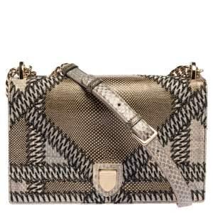 Dior Metallic Lizard and Python Medium Diorama Flap Shoulder Bag